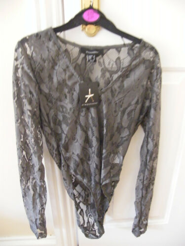 PRIMARK GREEN LACE BODYSUIT BODY TOP BNWT 6 8 10 FREE POST CHRISTMAS GREEN