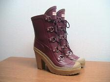 Womens 10 HUNTER 'Gabby' Merlot Red Rubber Rain Boots Heels, MSRP $195