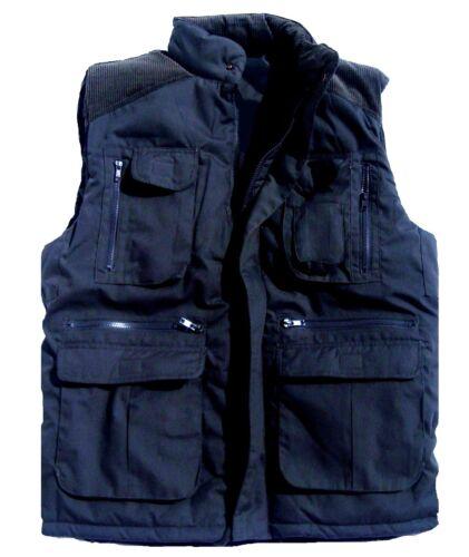 MENS 13 POCKET BODY WARMER Gents navy blue heavy duty padded jacket gilet