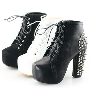 fa7ac76f08f womens spike stud lace up block high heel platform ankle boots ...