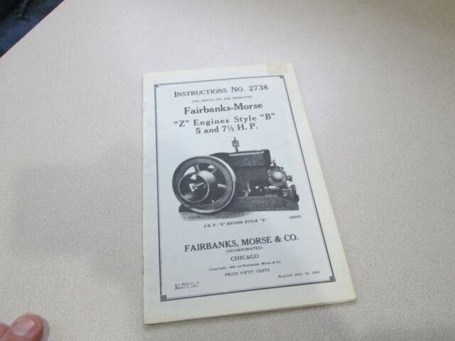 Manual No 2738 Fairbanks Morse 5 & 7 H.P Business & Industrial ...