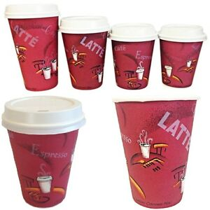 Image Is Loading Disposable Paper Coffee Tea Cups Amp Sip Lids