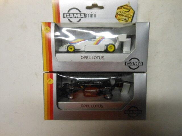 2 RARE Opel Lotus auto da corsa modellololi di Gama in 1 43 OVP NUOVO