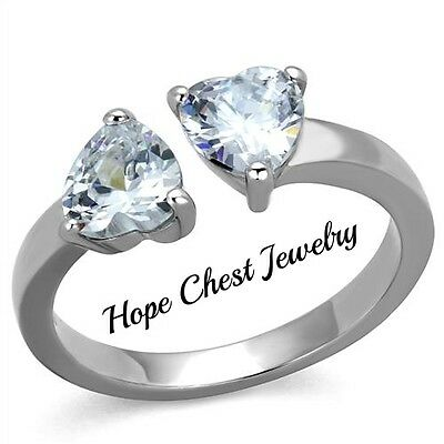 WOMEN'S SILVER STAINLESS STEEL TWO HEART CZ FASHION PROMISE RING SIZE 5 - 10