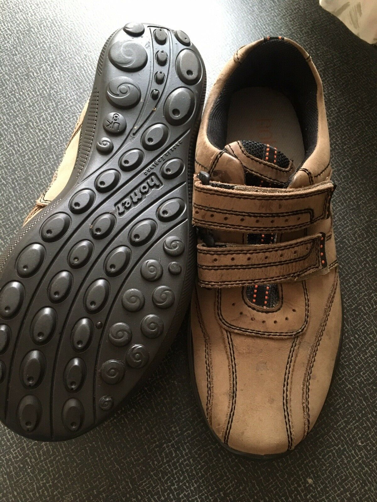 HOTTER ENERGISE BROWN LEATHER TOUCH FASTEN TRAINER SIZE UK 8