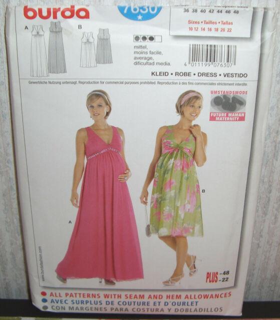 56b2cdc11 Womens/Misses Maternity Dresses Gowns Sewing Pattern/Burda 7630/SZ 10-22