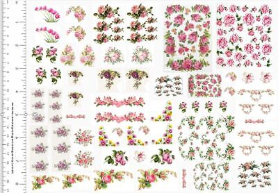 Dollhouse Miniature Shabby Chic Decals 1:12 Scale Floral Flowers Roses #5