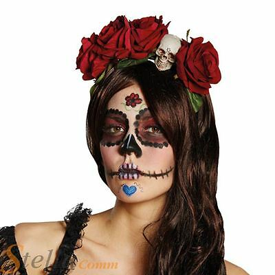 Ladies Day Of The Dead Rose Skull Headband Mexican Halloween Fancy Dress