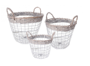 Set-Of-3-Shabby-Chic-Wire-Round-Baskets-With-Handles-Retro-Vintage-Home-Storage