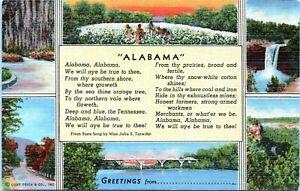Alabama-State-Song-Multi-View-Julia-Tutwiler-Linen-Postcard-AW