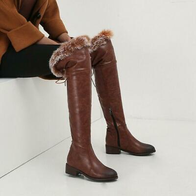 Womens Fashion Winter Fur Trim Metal Decor Round Toe Knee High Boots Block Heels
