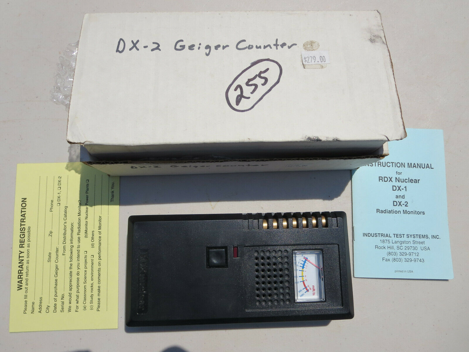 s l1600 - 255  DX-2 GEIGER COUNTER FROM RDX NUCLEAR.  STORE DEMO UNIT.  MADE IN USA.