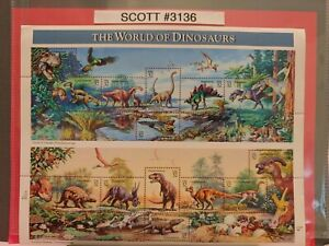 SCOTT # 3136-THE WORLD OF DINOSAURS-PANE OF (15) 32 CENT STAMPS