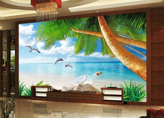 3D Kokospalmen Der Strand Fototapeten Wandbild Fototapete BildTapete Familie DE