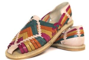 b8d933f067a Women s HUARACHES SANDALS MULTI  2 Flats CLOSED TOE Mexican Sandals ...