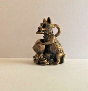 Figure Amulet Bronze Figure Good Luck Bear Silver Pendant China b131