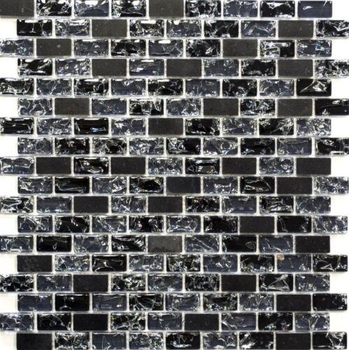 Mosaik Fliese versetzt Glasmosaik Natursteinmosaik mix schwarz Wand 87-b1128/_b