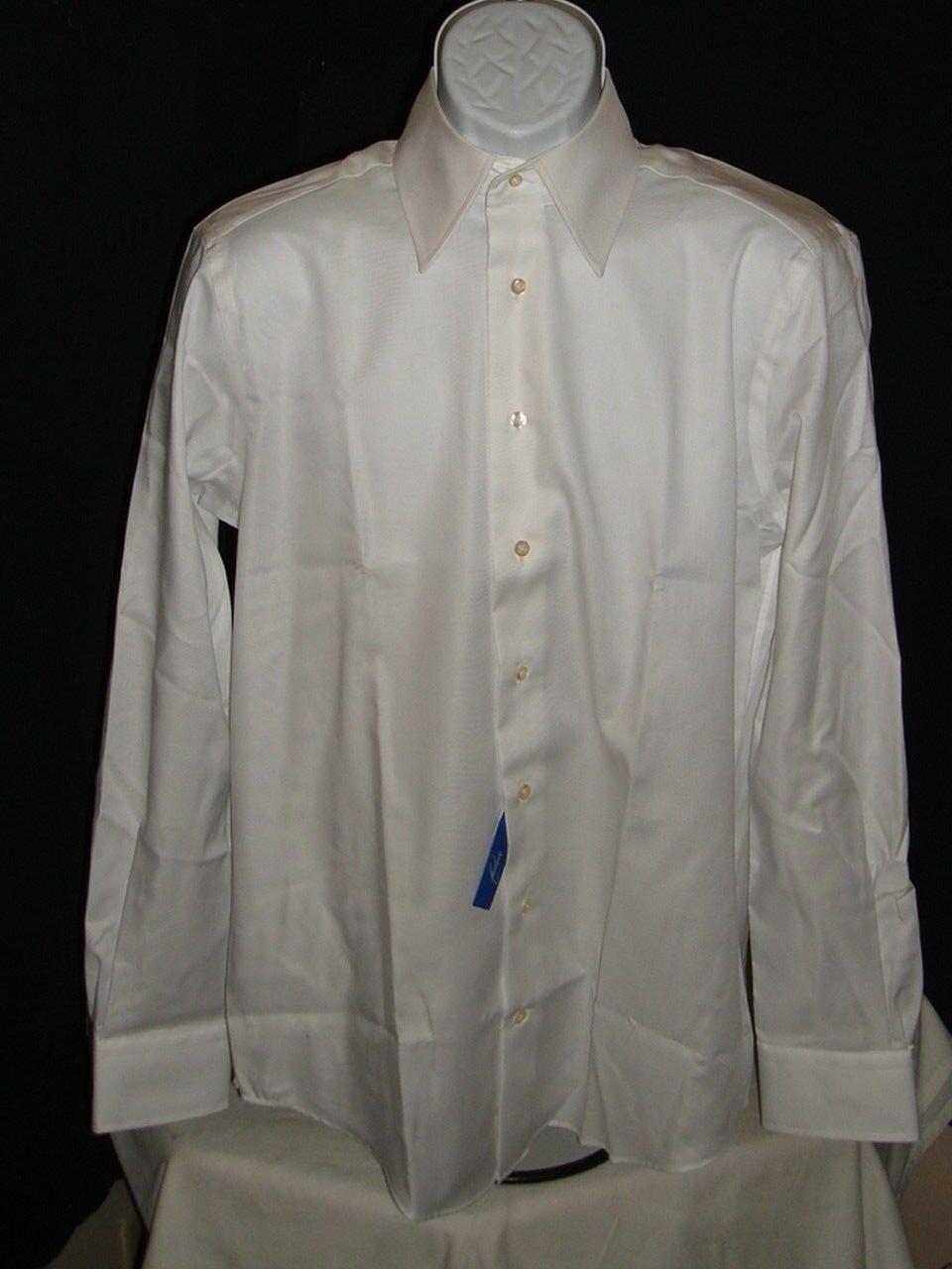 NWT ANDREW J AZZURRO WHITE 100% COTTON DRESS SHIRT SZ. 15 3 4 33-34 SLIM TURKEY