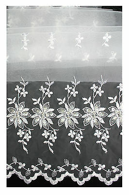 """Unotrim 100% ORGANZA BOTH SIZDE EMBROIDERED LACE FABRIC  52""""-53"""""""