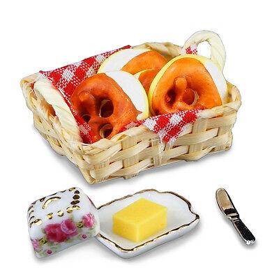 Reutter Porzellan Brezelvesper German Pretzel Set with Butter Dollhouse 1:12