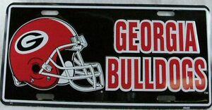 Black University Of Georgia License Plate Car Truck Tag Bulldogs Football Helmet