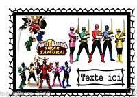 Pancarte Affiche De Porte Plastifié Power Rangers Samurai 02 Avec Prénom