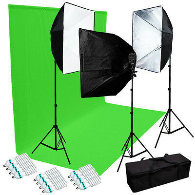 Julius Studio Three Photography 4 Sockets Light w/ Softbox Lighting Kit and Bag