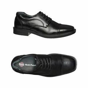 MENS-HUSH-PUPPIES-HUON-BLACK-LEATHER-EXTRA-WIDE-LACE-UP-WORK-FORMAL-MEN-039-S-SHOES