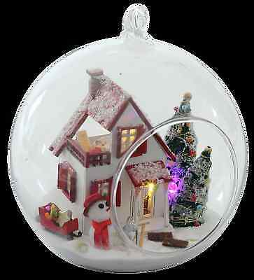 Mini glass ball DIY Wooden Dollhouse miniature with LED Gift Christmas