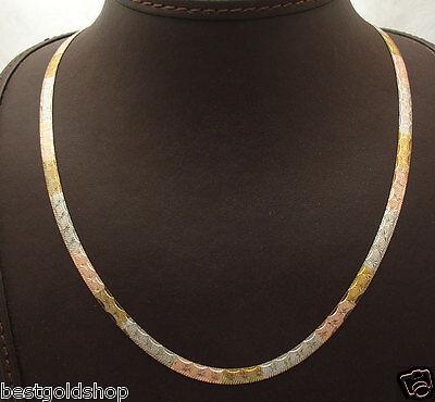 Technibond Herringbone Chain Necklace 14K TriColor Gold Clad Silver Italy
