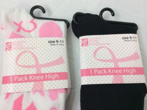 Details about  /2 Pairs Breast Cancer Awareness Tube Socks Black Pink Ribbons Knee High 9-11 NWT