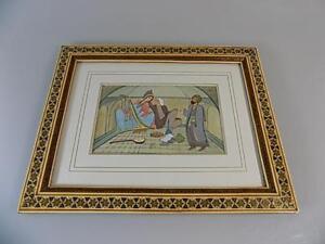 Details Zu Orientalisches Gemälde Indische Persisch Auf Bein Gemalt Hofzene Rahmen 20jhd
