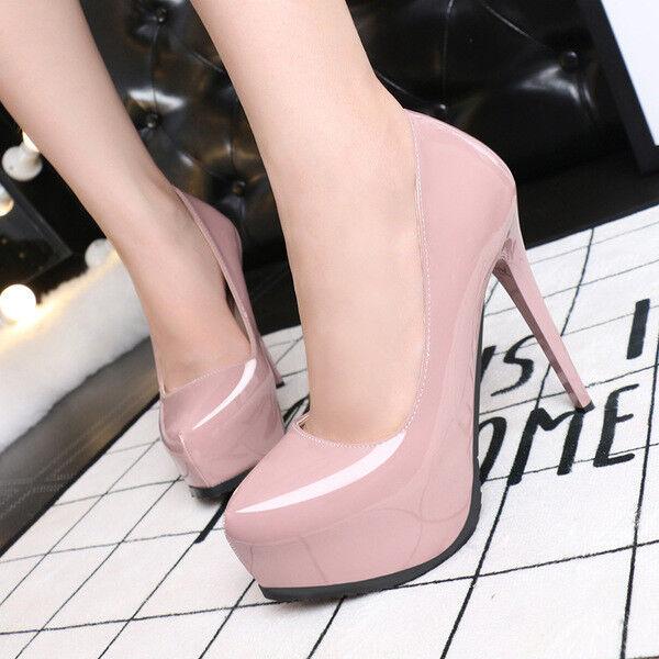 Decolte stiletto 12 eleganti rosadodo rosadodo rosadodo lucido plateau cinturino simil pelle 9648  de moda