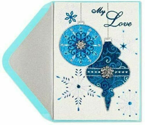PAPYRUS Greetings Christmas Card Blue Embroidered Ornament with Gems~My Love
