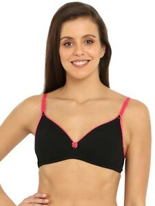 3ed5da53077 Jockey Women s Cotton Fashion Fit Bra Black   Ruby Non Padded Wire ...