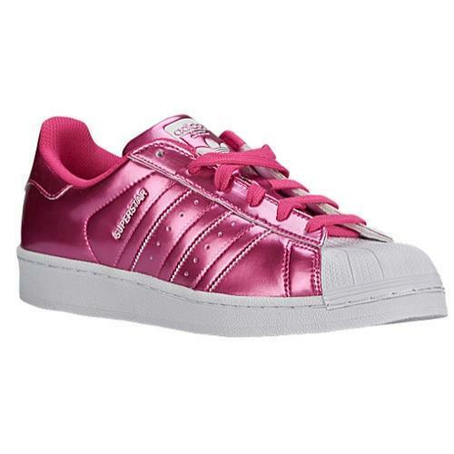 Adidas Pink Metallic Superstar White Rubber Cap Shoes Sneakers Wms 7.5 NWOT