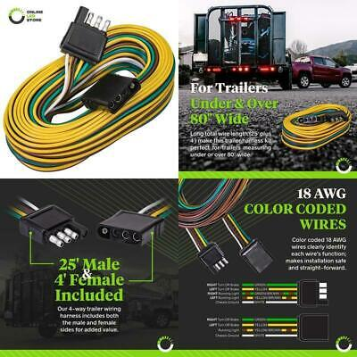 details about online led store 4-way flat wishbone-style trailer wiring  harness kit [25 male a