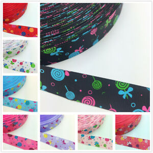 5 Yards 1/'/' 25mm Multicolor butterfly pattern Printed Grosgrain Ribbon Hair Bow
