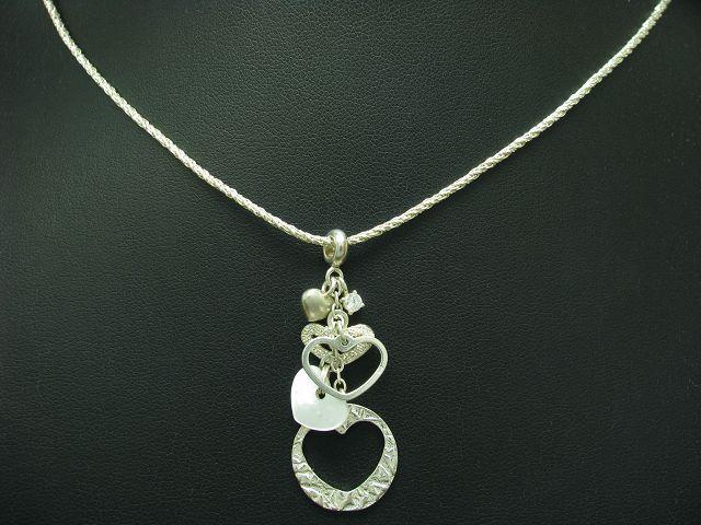 925 STERLING silver KETTE UND ANHÄNGER MIT PERLMUTT BESATZ   ECHTsilver   70,3cm