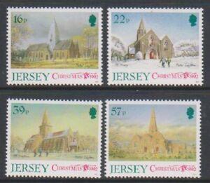 Jersey-1992-Noel-Paroisse-Eglises-3rd-Series-Ensemble-MNH-Sg-597-600