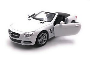 Model-Car-Mercedes-Benz-SL500-White-Cabriolet-Car-Scale-1-3-4-39-Licensed