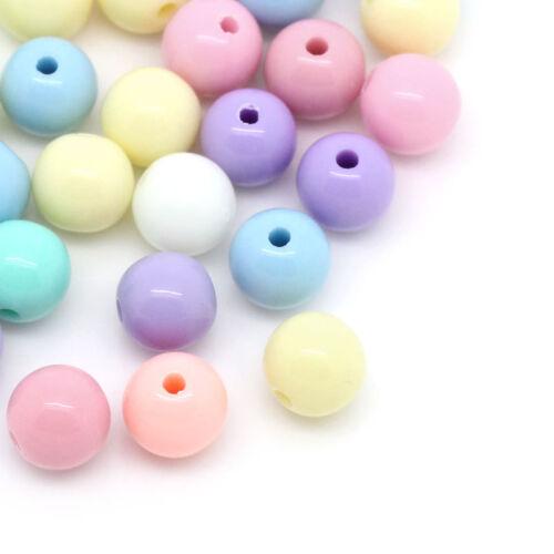 1500 mixte perles Acrylique rond multicolore 8mm.B28559
