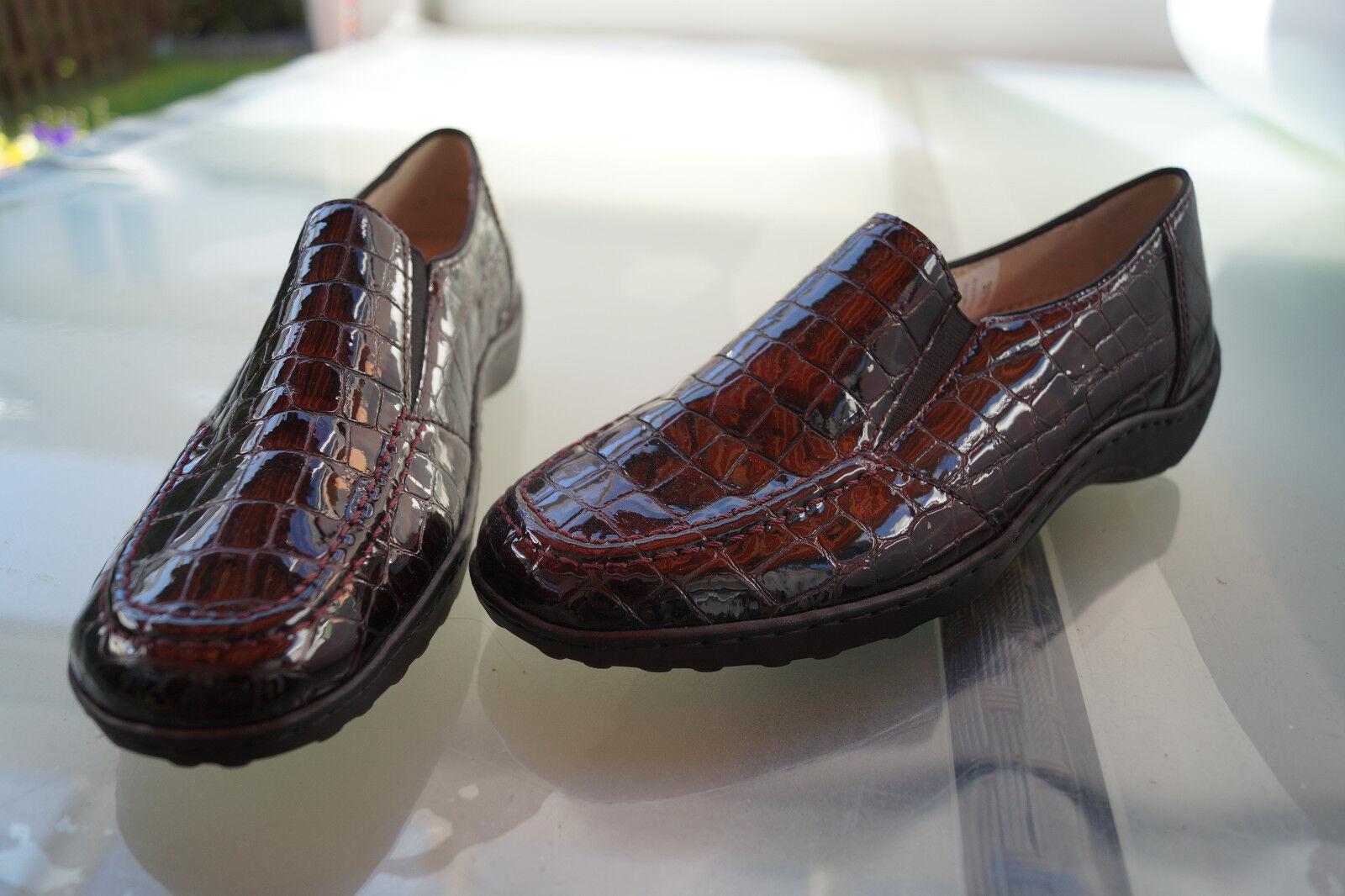 ARA Damen Comfort Schuhe Slipper Mokassins Lack Leder Einlagen Gr.8,5 G 42,5 NEU