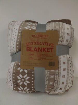 Berkshire Blanket Velvet Soft and Fair Isle Blanket-Full-Blush-NWT-H215842