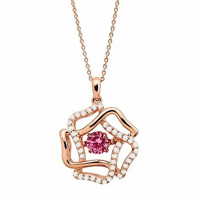3/4 ct Created Pink & White Sapphire Flower Pendant, 14K Rose Gold-Plated Silver