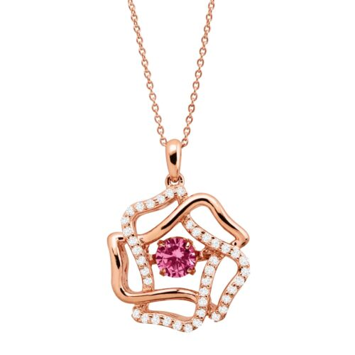 14K Rose Gold-Plated Silver 3//4 ct Created Pink /& White Sapphire Flower Pendant