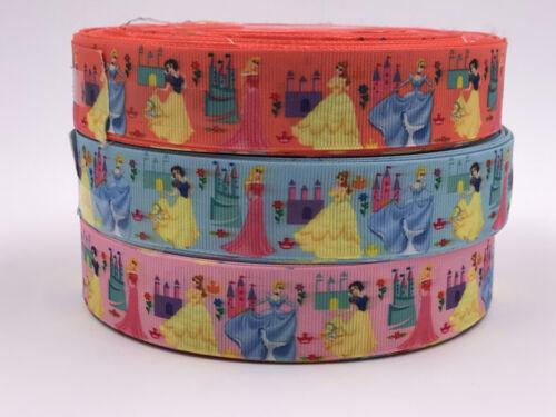 1 5 10 Yard 1/'/' Princess woman Printed Grosgrain Ribbon Hair Bow Sewing Ribbon