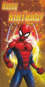 MARVEL-SPIDERMAN-BIRTHDAY-CARD-SUPERHERO-9-X-5-INCHES-1ST-CLASS-POST-V1