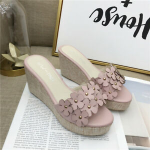 Sabot 1038 8 Ciabatte Sandali Pelle Rosa Platform Bianco Eleganti Fiori Simil OdFBq