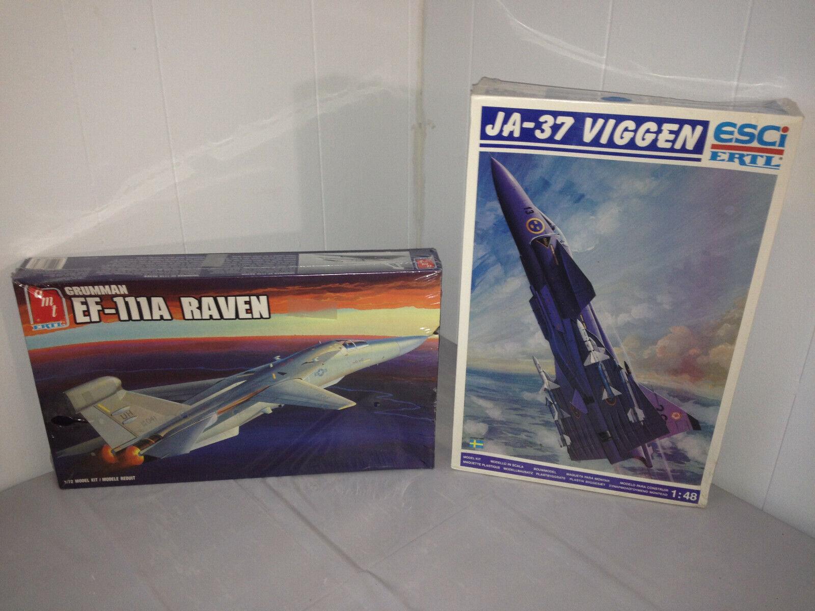 ESCi ERTL JA37 Viggen 1 48 Model + AMT 1 72 Grumman EF-111A Raven Sealed Jet Lot